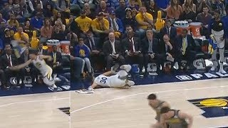 Stephen Curry Embarrasses Himself Again After Slipping On A Towel While Celebrating Klay's Dunk!