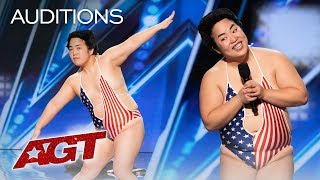 Yuriyan Retriever Teaches Simon Cowell How To Dance! - America's Got Talent 2019